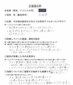大阪市福島区 女性 カイロプラクティック整体で背中~腰の痛みが殆ど無くなりました。