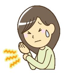 手のしびれで苦しんでいる女性のイラスト|大阪市福島区カイロプラクティック整体ヘンミ